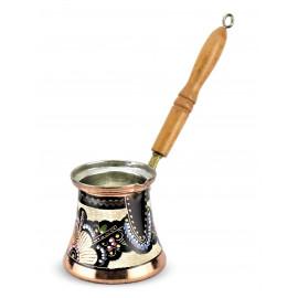 Ručně malovaná džezva s dřevěnou rukojetí - 220 ml